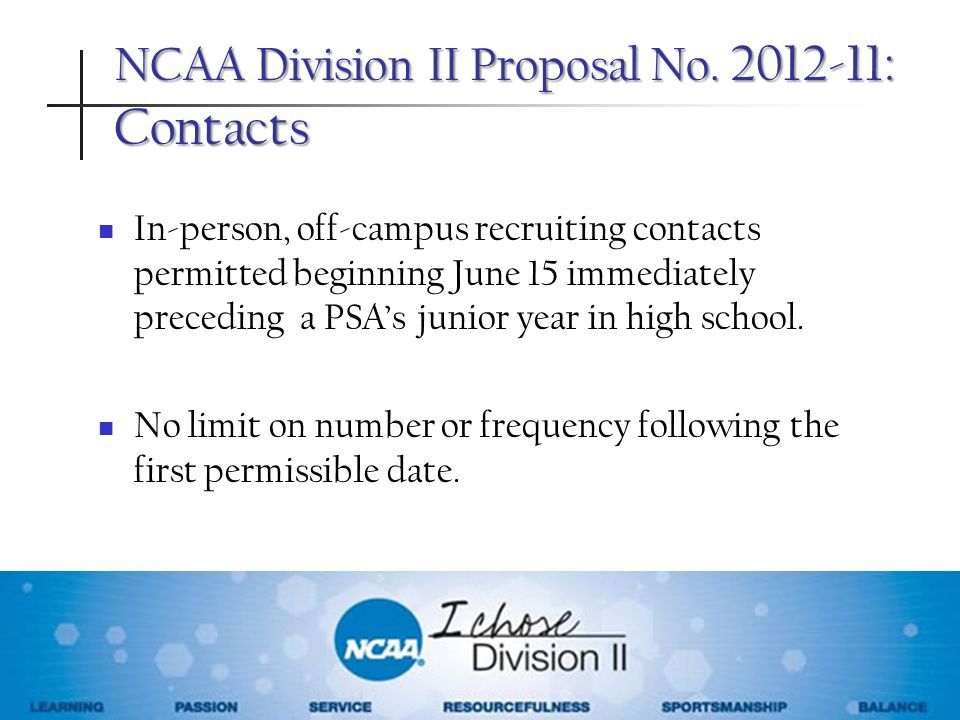 NCAA Division II Proposal No : Contacts
