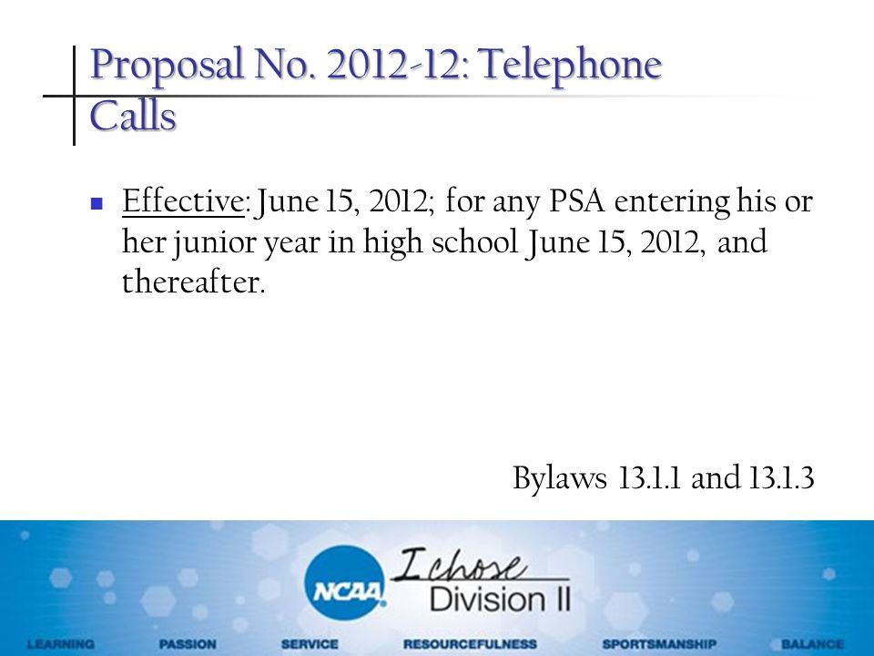 Proposal No. 2012-12: Telephone Calls