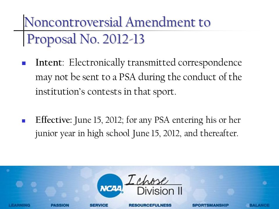 Noncontroversial Amendment to Proposal No. 2012-13