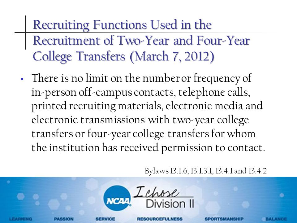 Recruiting Functions Used in the Recruitment of Two-Year and Four-Year College Transfers (March 7, 2012)