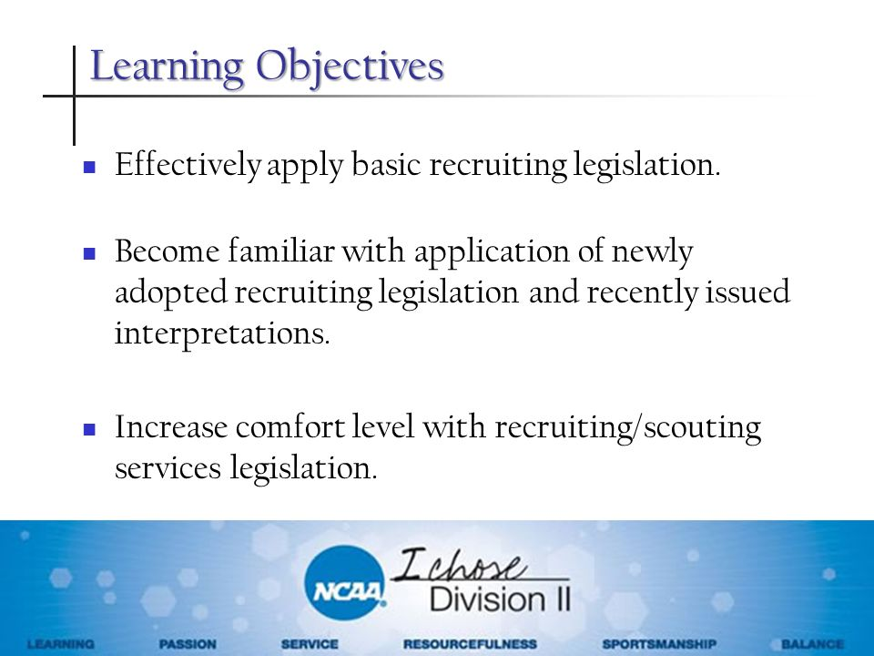 Learning Objectives Effectively apply basic recruiting legislation.