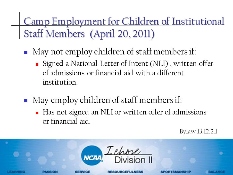 Camp Employment for Children of Institutional Staff Members (April 20, 2011)