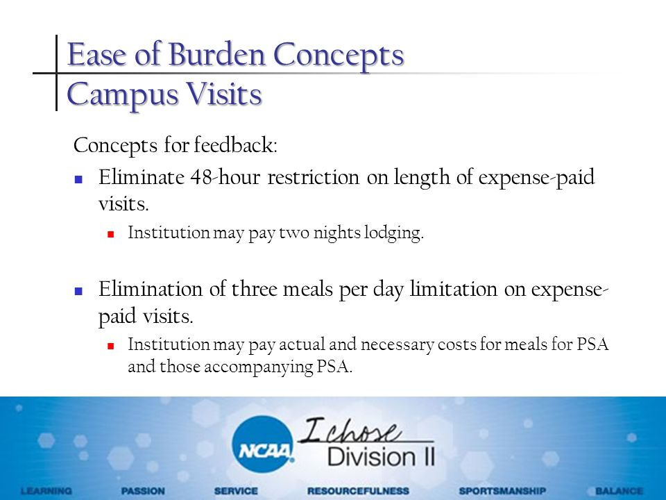 Ease of Burden Concepts Campus Visits