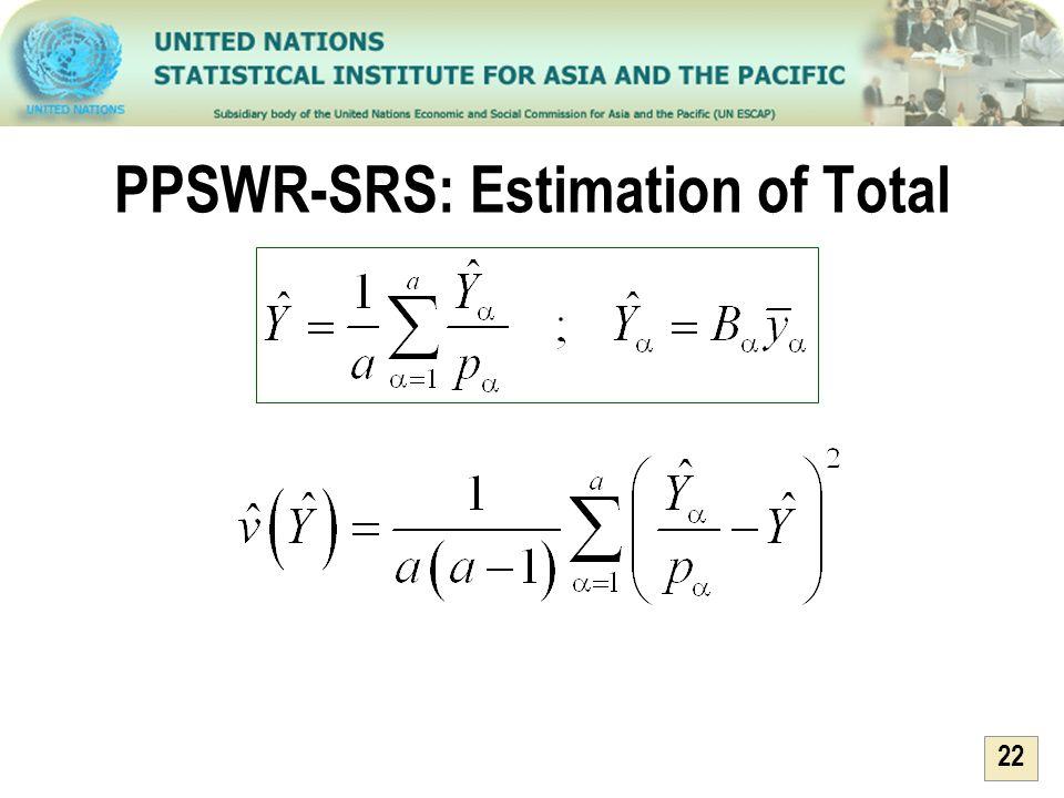 PPSWR-SRS: Estimation of Total
