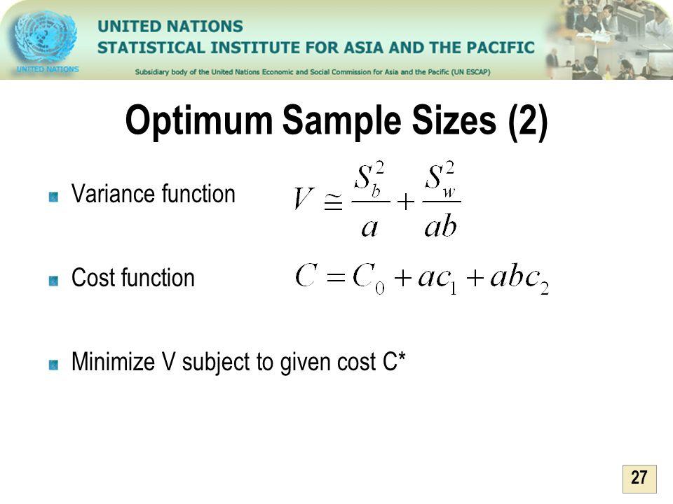 Optimum Sample Sizes (2)