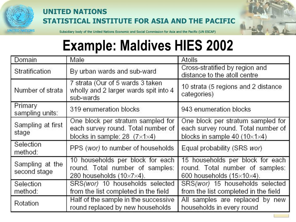 Example: Maldives HIES 2002