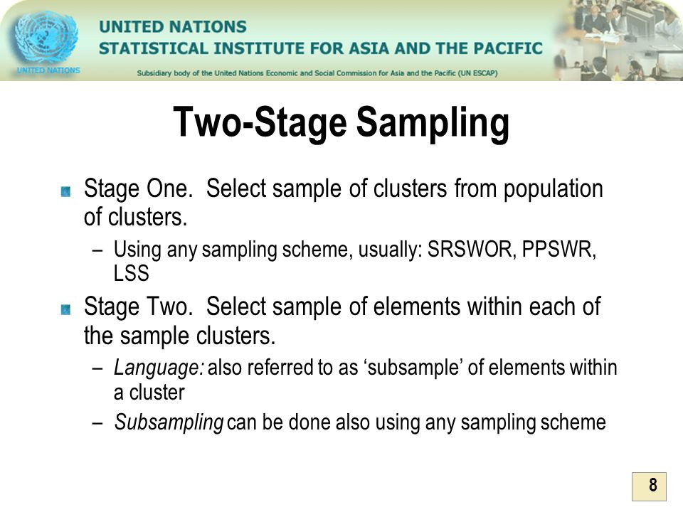 Two-Stage Sampling Stage One. Select sample of clusters from population of clusters. Using any sampling scheme, usually: SRSWOR, PPSWR, LSS.