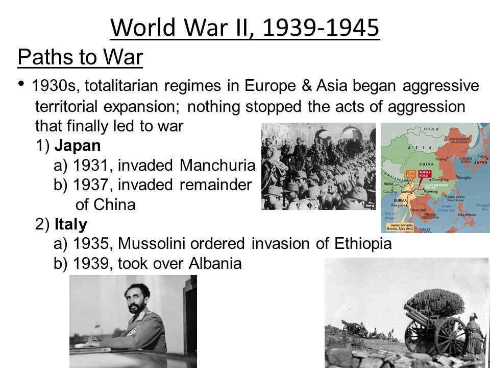 World War II, 1939-1945 Paths to War