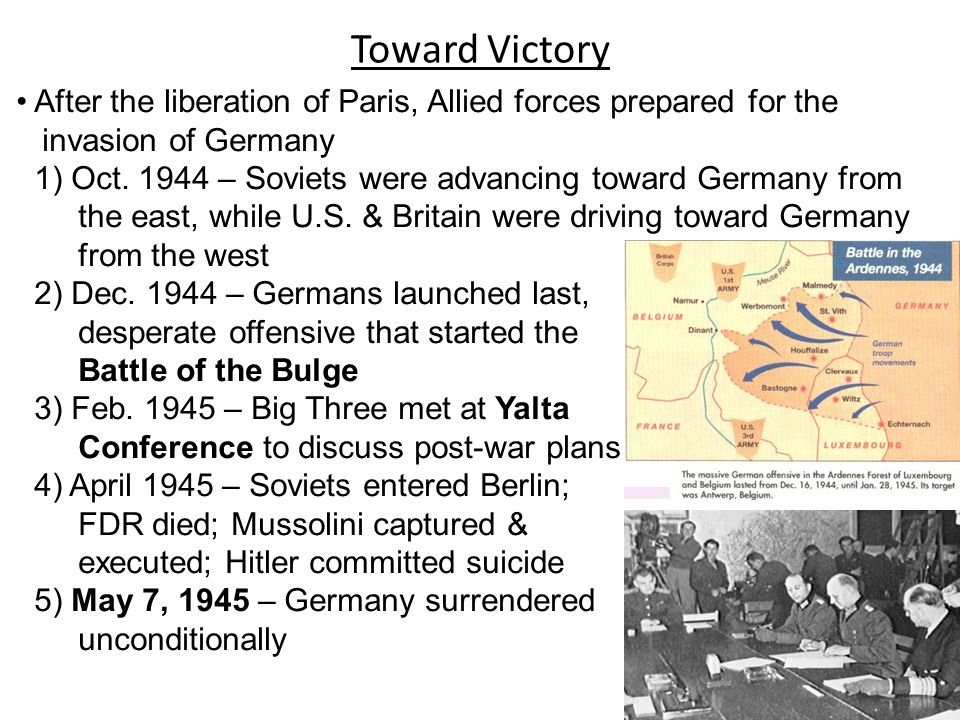 Toward Victory After the liberation of Paris, Allied forces prepared for the. invasion of Germany.