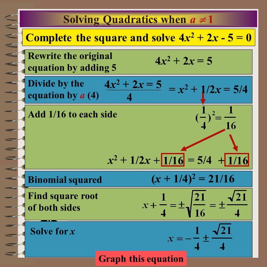 Solving Quadratics when a  1