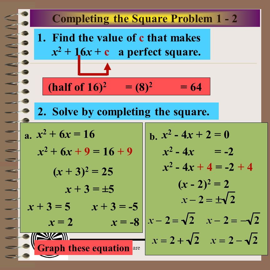 Completing the Square Problem 1 - 2