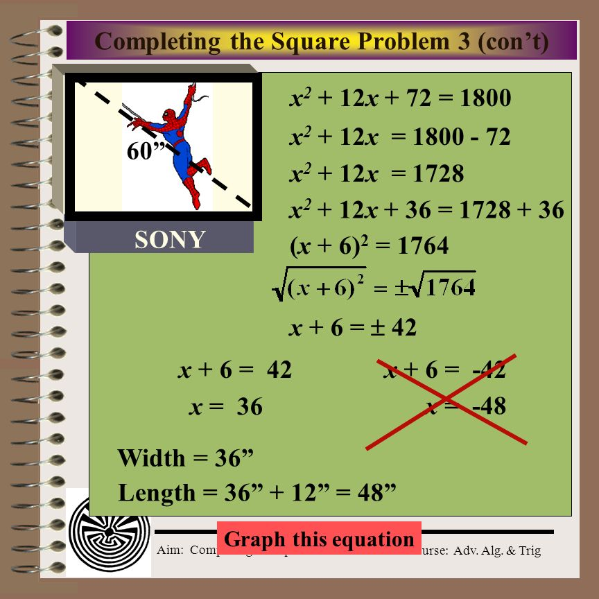 Completing the Square Problem 3 (con't)