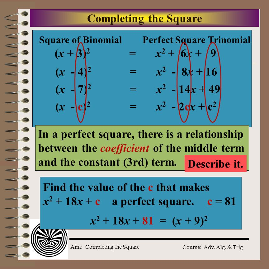In a perfect square, there is a relationship