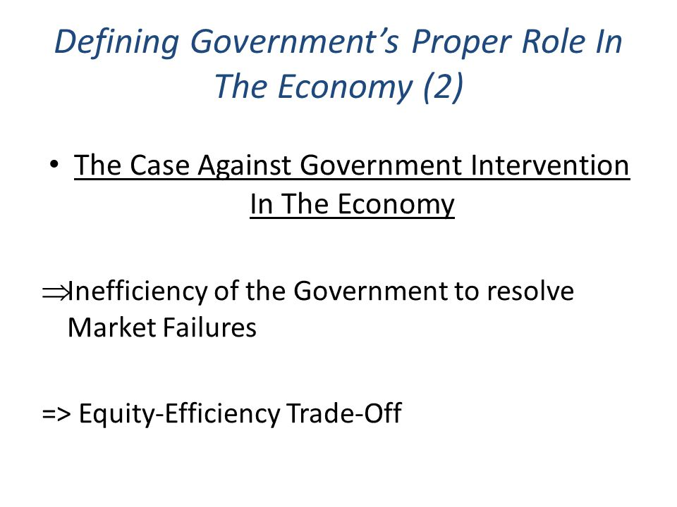Defining Government's Proper Role In The Economy (2)