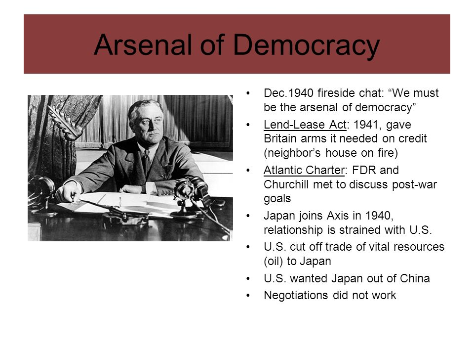 Arsenal of DemocracyDec.1940 fireside chat: We must be the arsenal of democracy