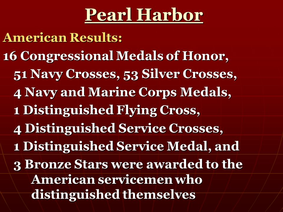 Pearl Harbor American Results: 16 Congressional Medals of Honor,
