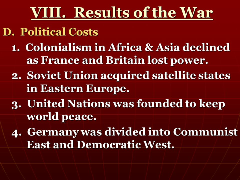 VIII. Results of the War D. Political Costs