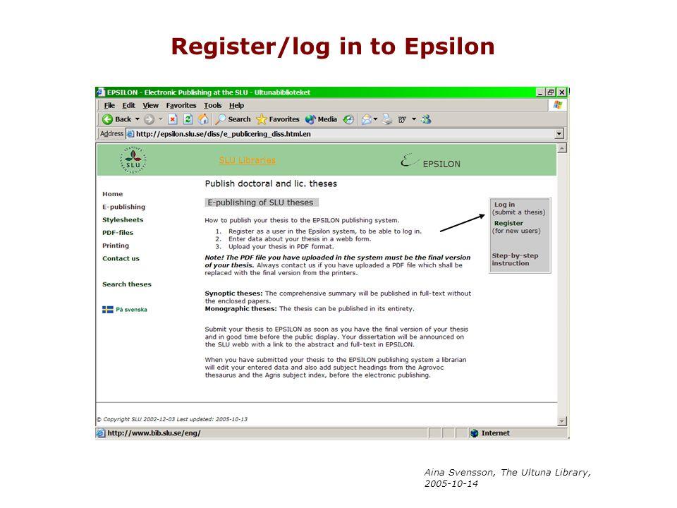 Register/log in to Epsilon