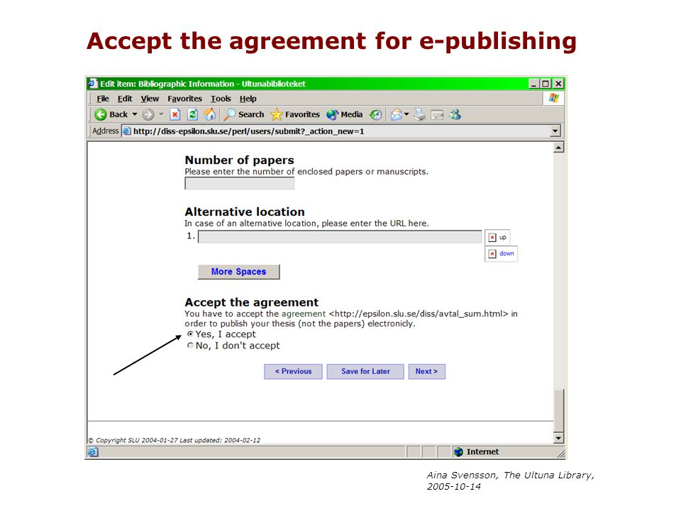 Accept the agreement for e-publishing