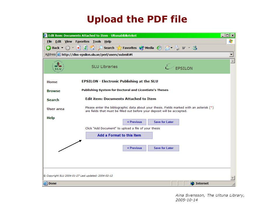 Upload the PDF file Aina Svensson, The Ultuna Library, 2005-10-14