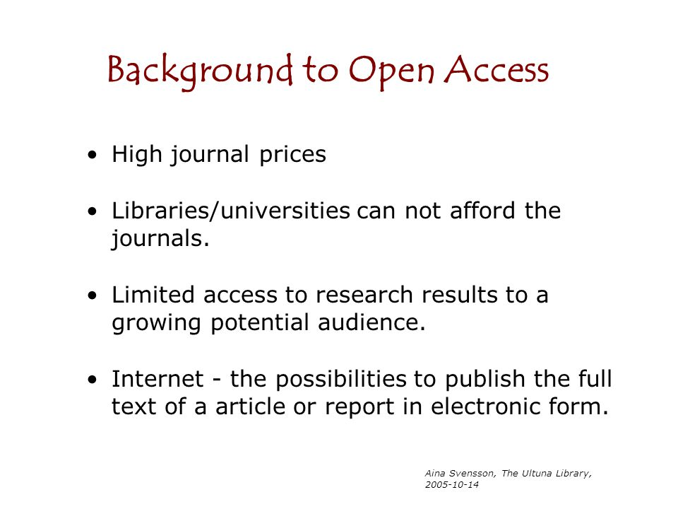 Background to Open Access