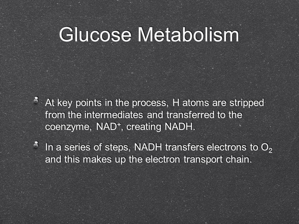 Glucose Metabolism At key points in the process, H atoms are stripped from the intermediates and transferred to the coenzyme, NAD+, creating NADH.