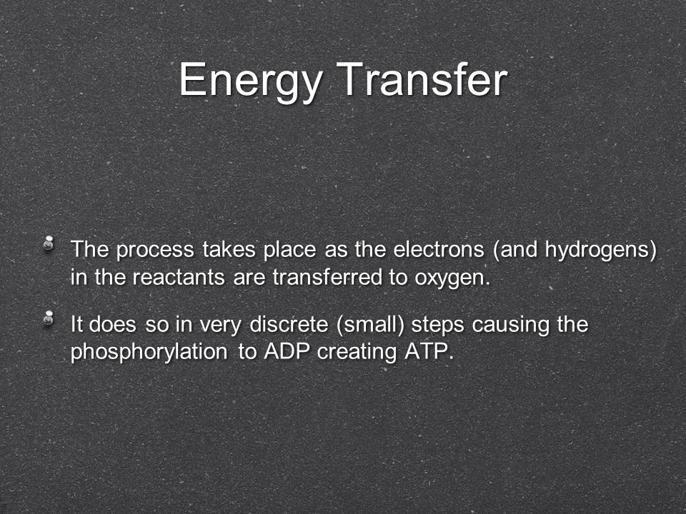 Energy Transfer The process takes place as the electrons (and hydrogens) in the reactants are transferred to oxygen.