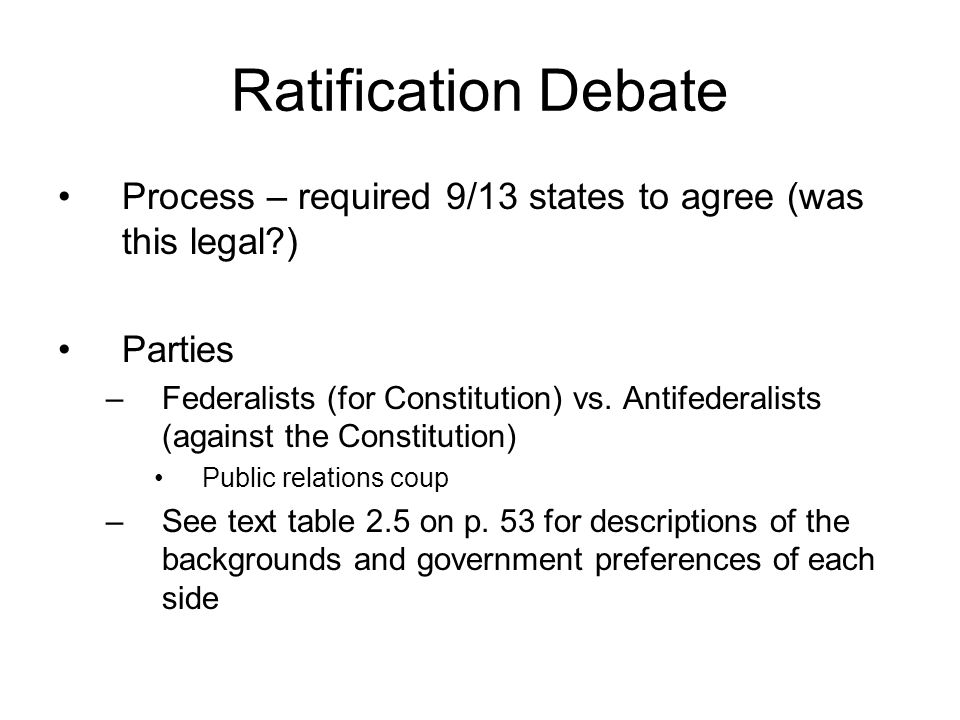 Ratification Debate Process – required 9/13 states to agree (was this legal ) Parties.