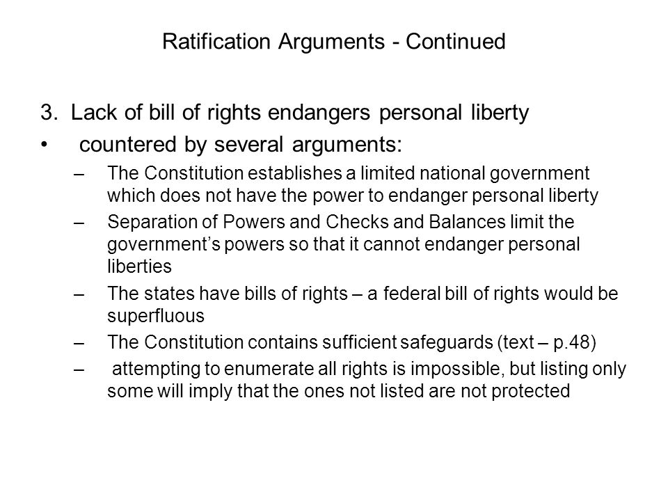 Ratification Arguments - Continued