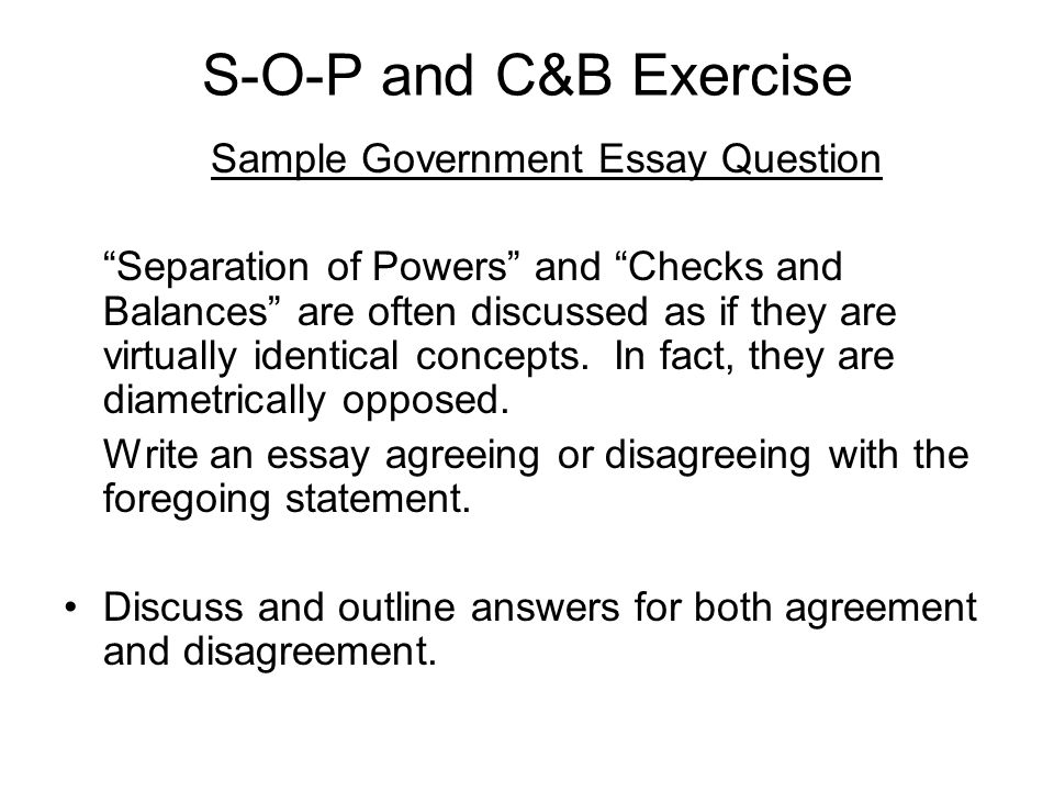 Separation of Powers - Government Essay