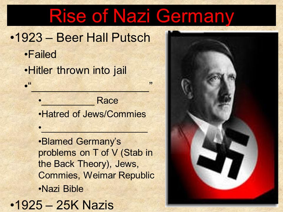 Rise of Nazi Germany 1923 – Beer Hall Putsch 1925 – 25K Nazis Failed