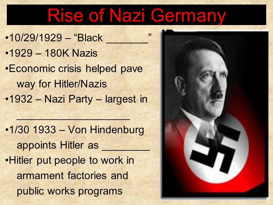 Rise of Nazi Germany 10/29/1929 – Black _______ 1929 – 180K Nazis