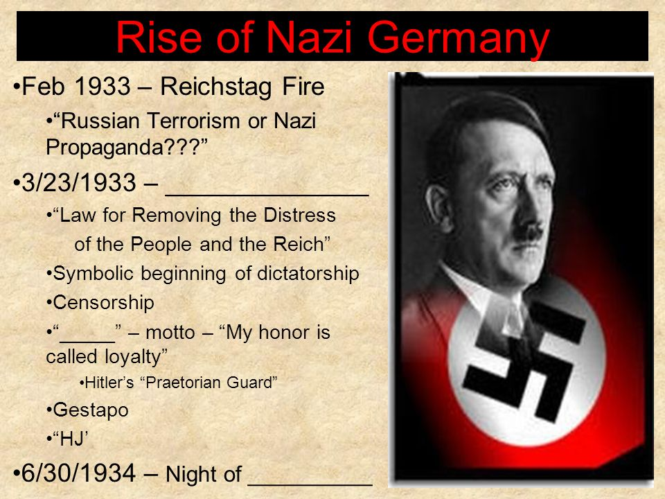 Rise of Nazi Germany Feb 1933 – Reichstag Fire