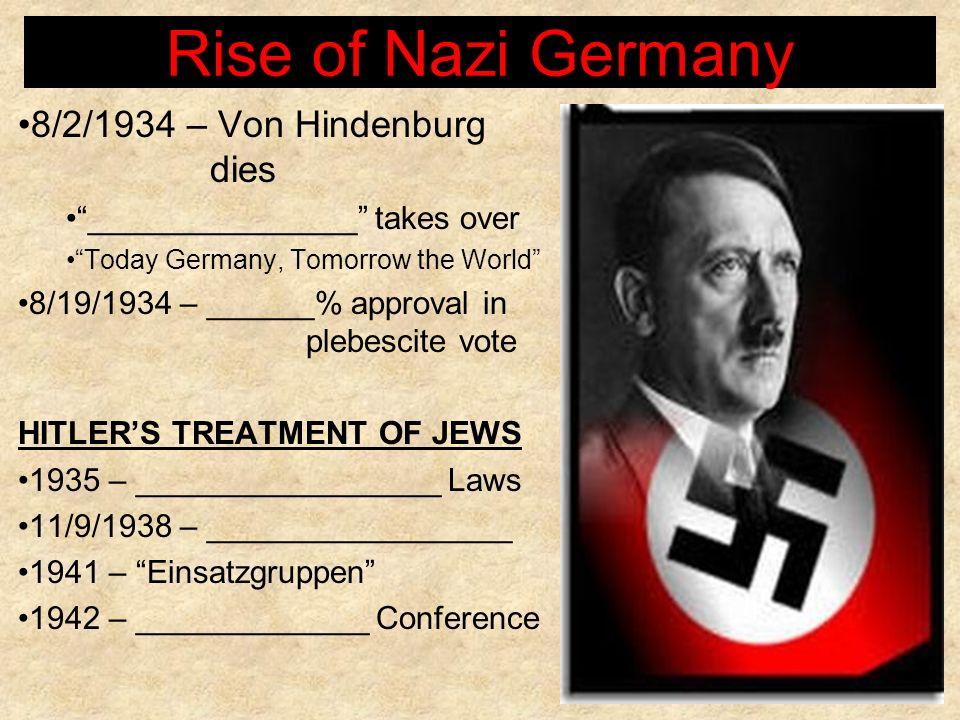 Rise of Nazi Germany 8/2/1934 – Von Hindenburg dies