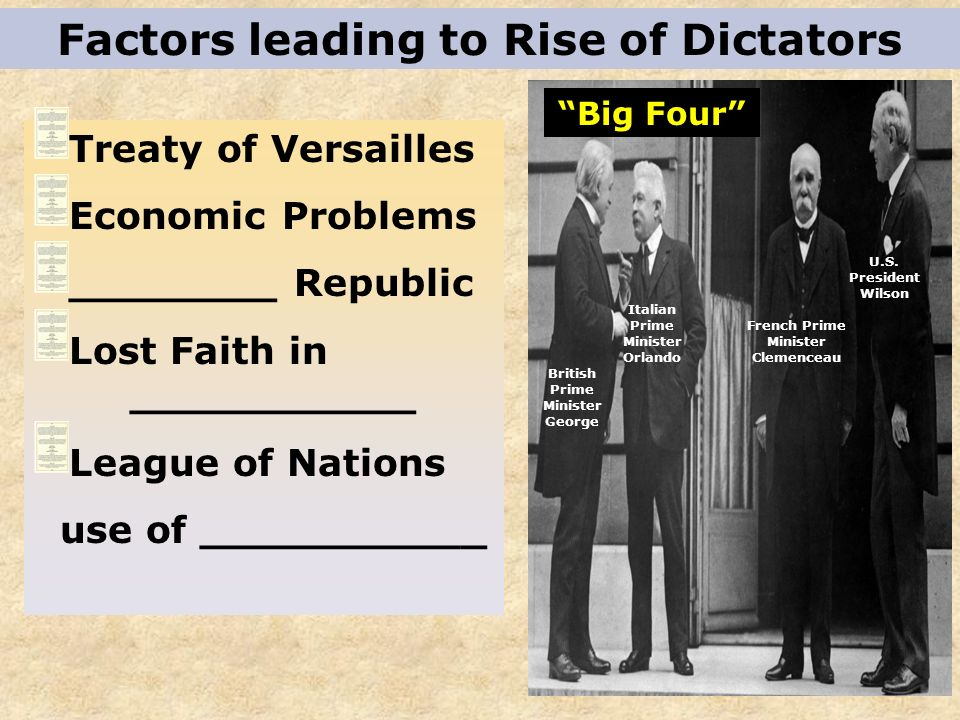 Factors leading to Rise of Dictators