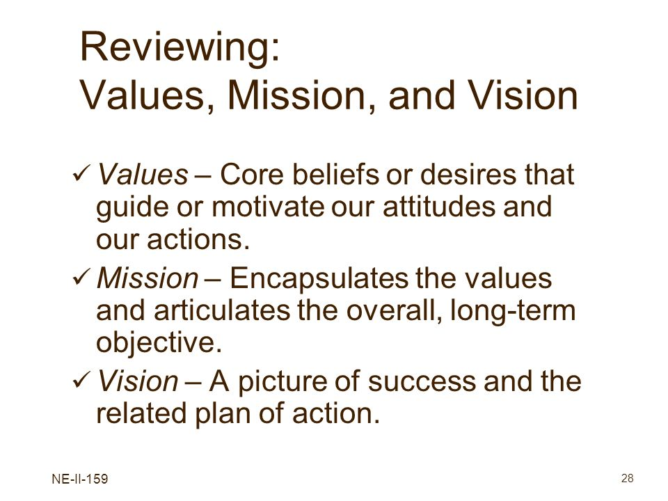Reviewing: Values, Mission, and Vision
