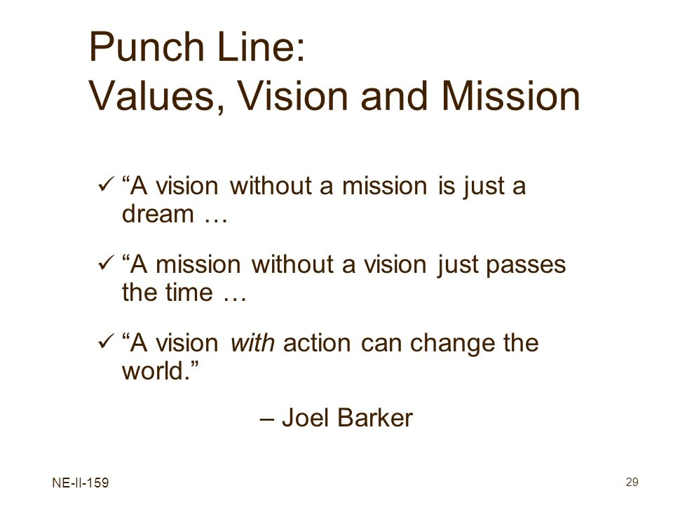 Punch Line: Values, Vision and Mission