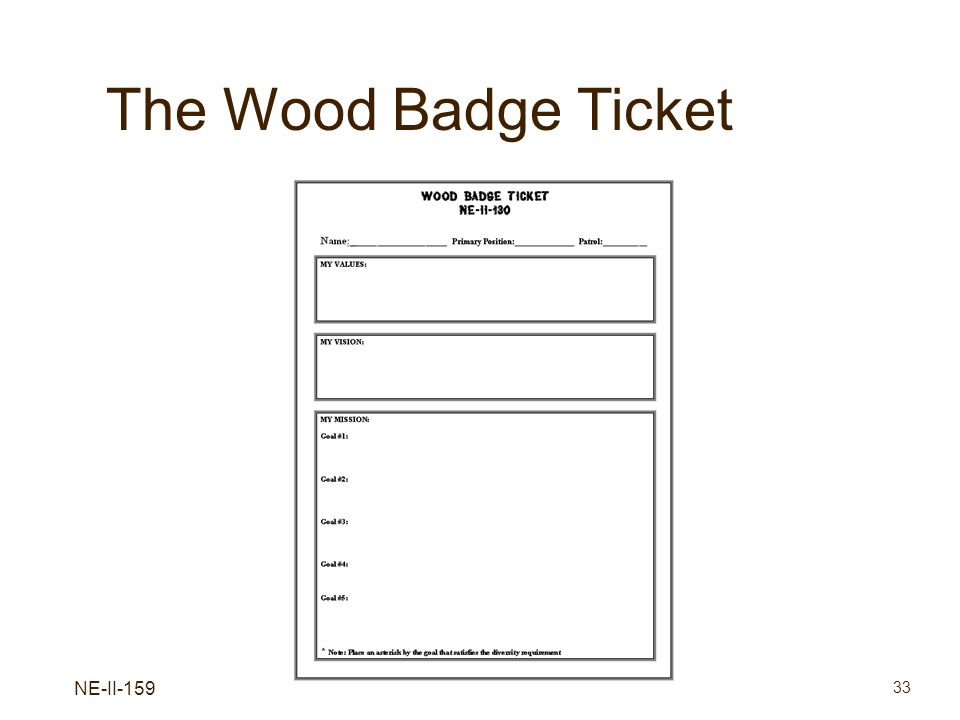 The Wood Badge Ticket NE-II-159 Values, Mission, and Vision