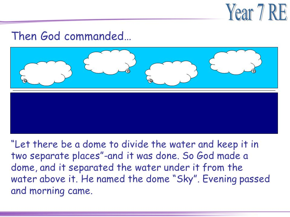 Then God commanded…