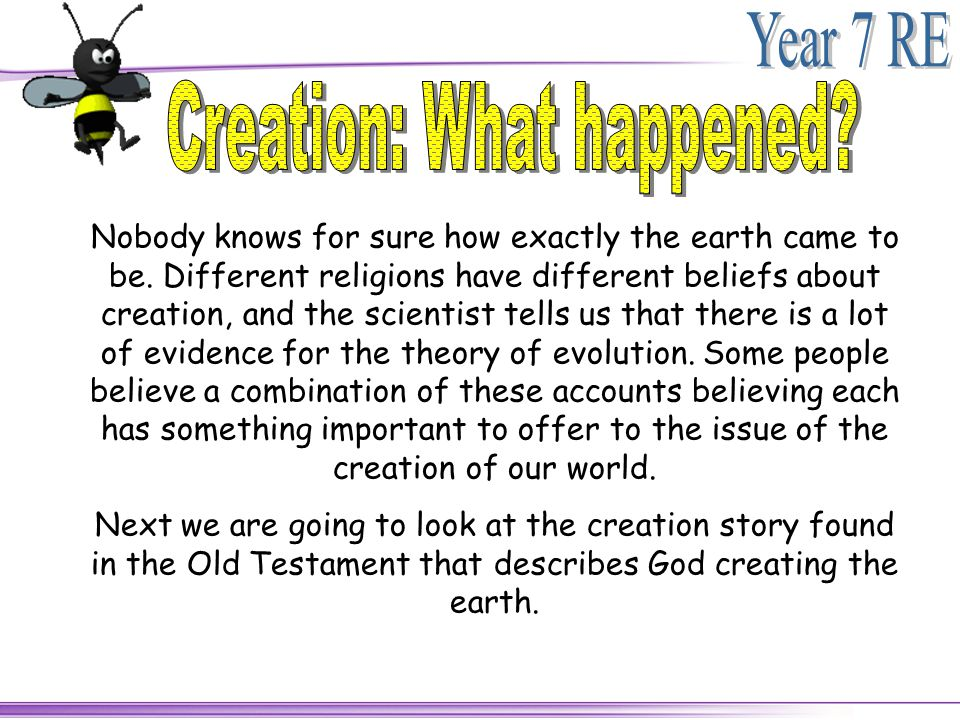 Creation: What happened