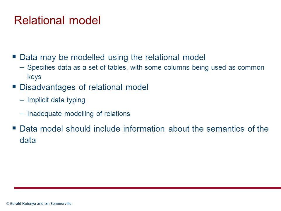 Relational model Data may be modelled using the relational model