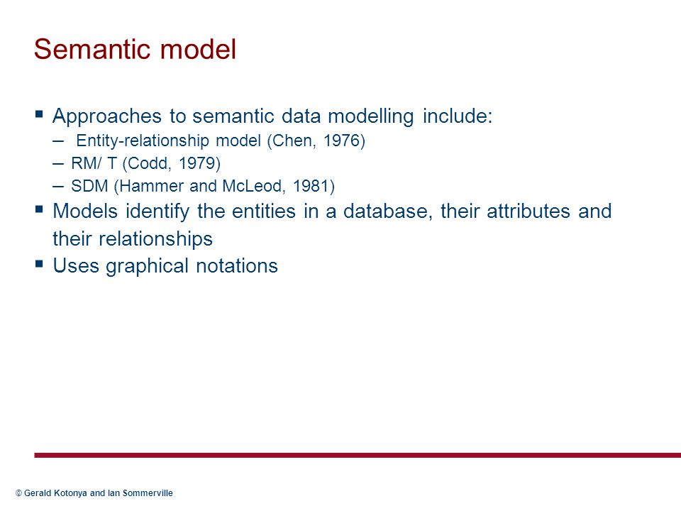 Semantic model Approaches to semantic data modelling include: