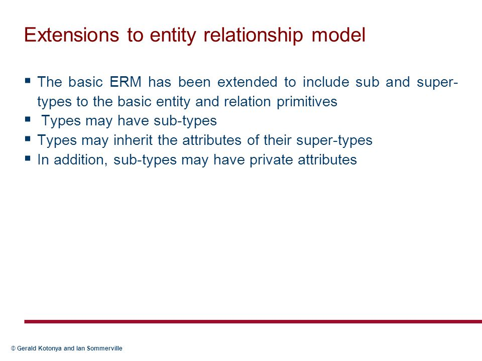 Extensions to entity relationship model