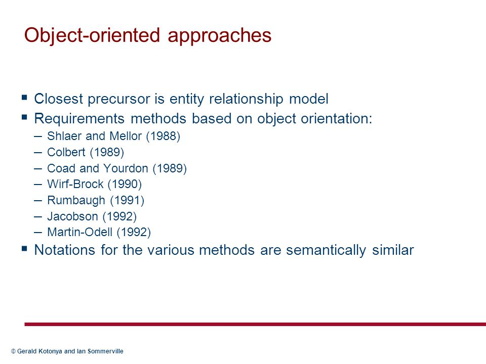 Object-oriented approaches