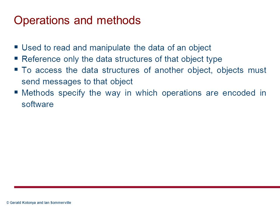 Operations and methods