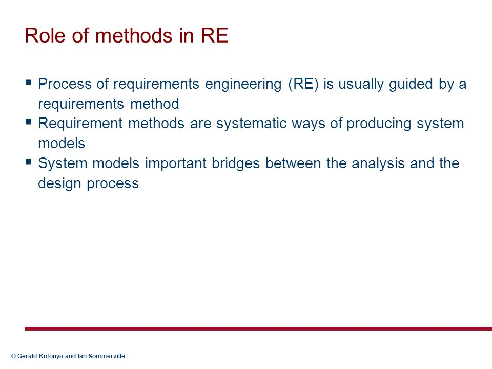 Role of methods in RE Process of requirements engineering (RE) is usually guided by a requirements method.