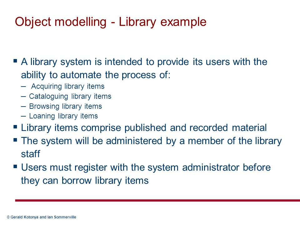 Object modelling - Library example