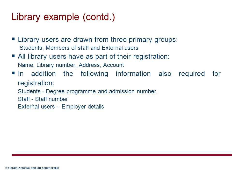 Library example (contd.)