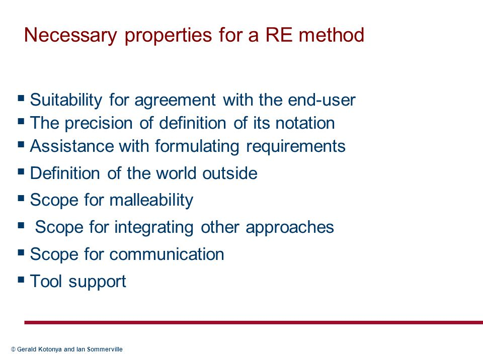 Necessary properties for a RE method