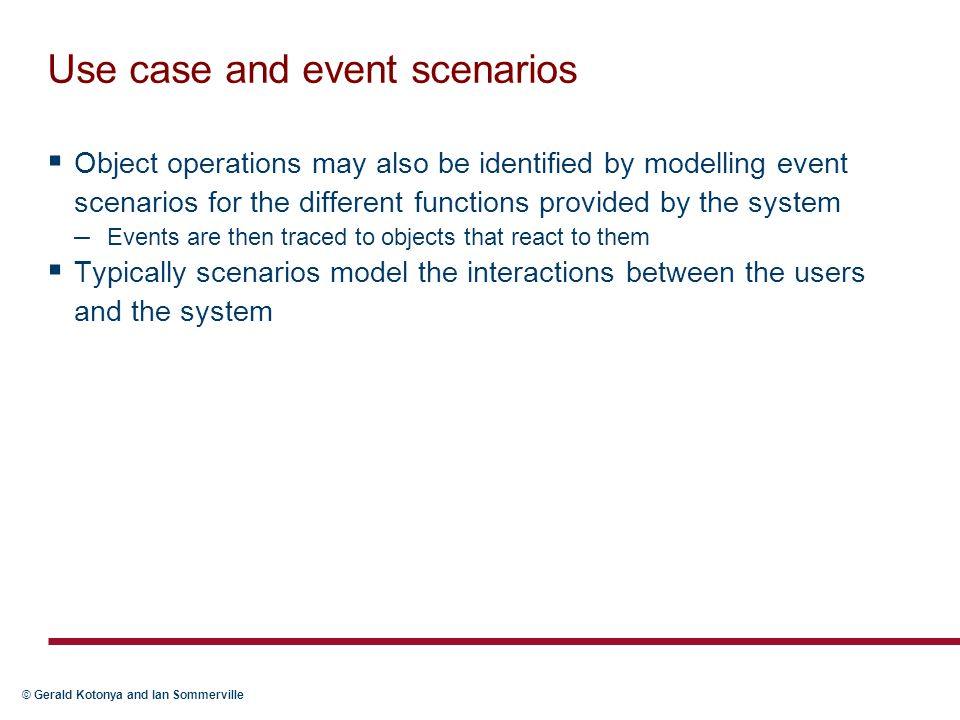 Use case and event scenarios